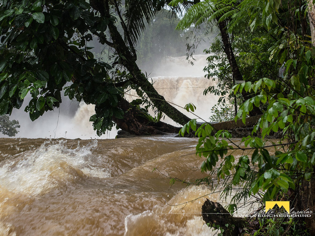 Tinuy-an Falls as seen near the entrance. Note even the sides are all submerged in flood waters.