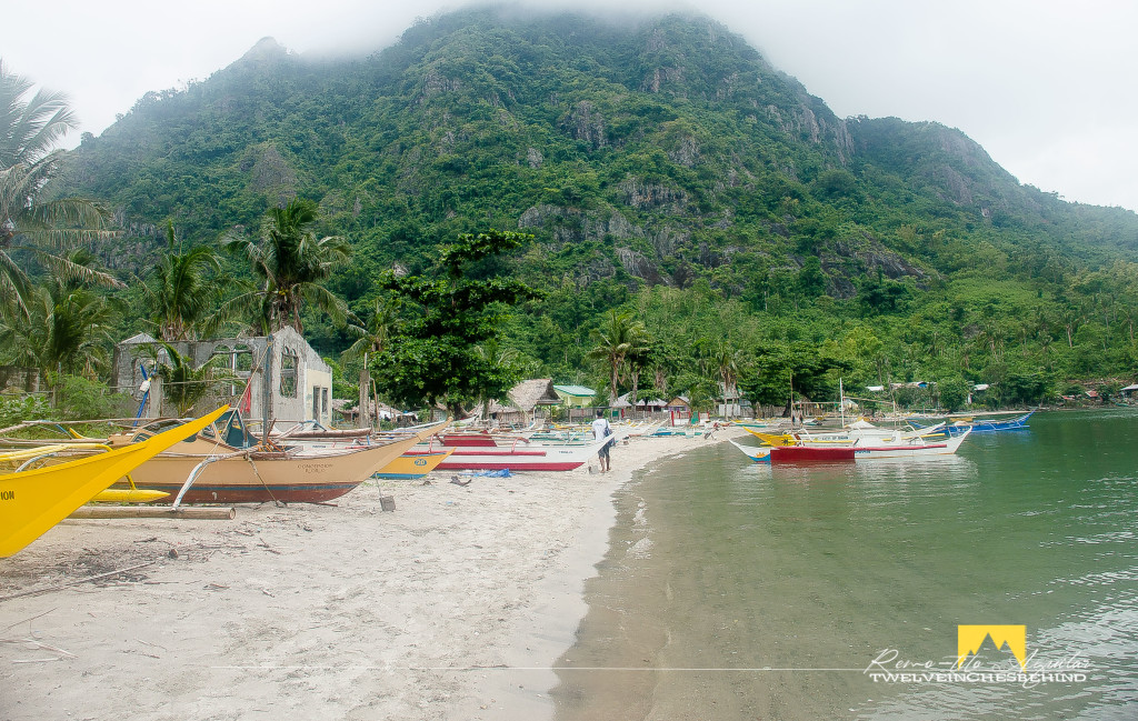 Beach front view of Tambalisa beach and Mt. Manaphag as backdrop