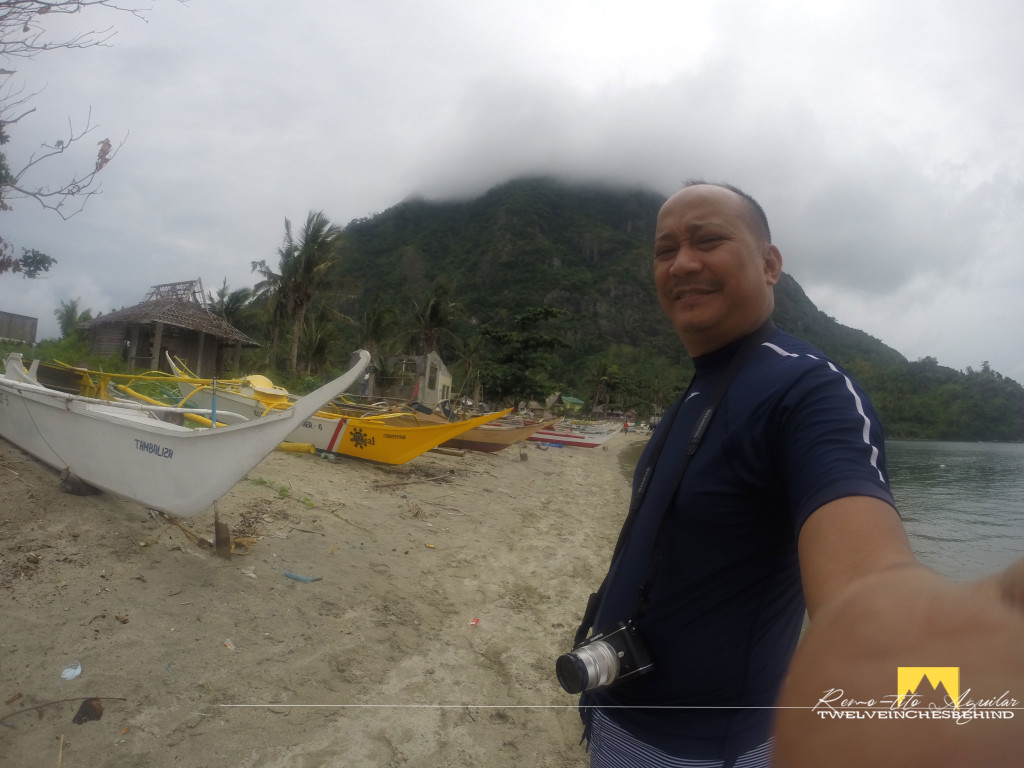 Obligatory selfie just before leaving with Tambalisa beach and Mt. Manaphag on the background