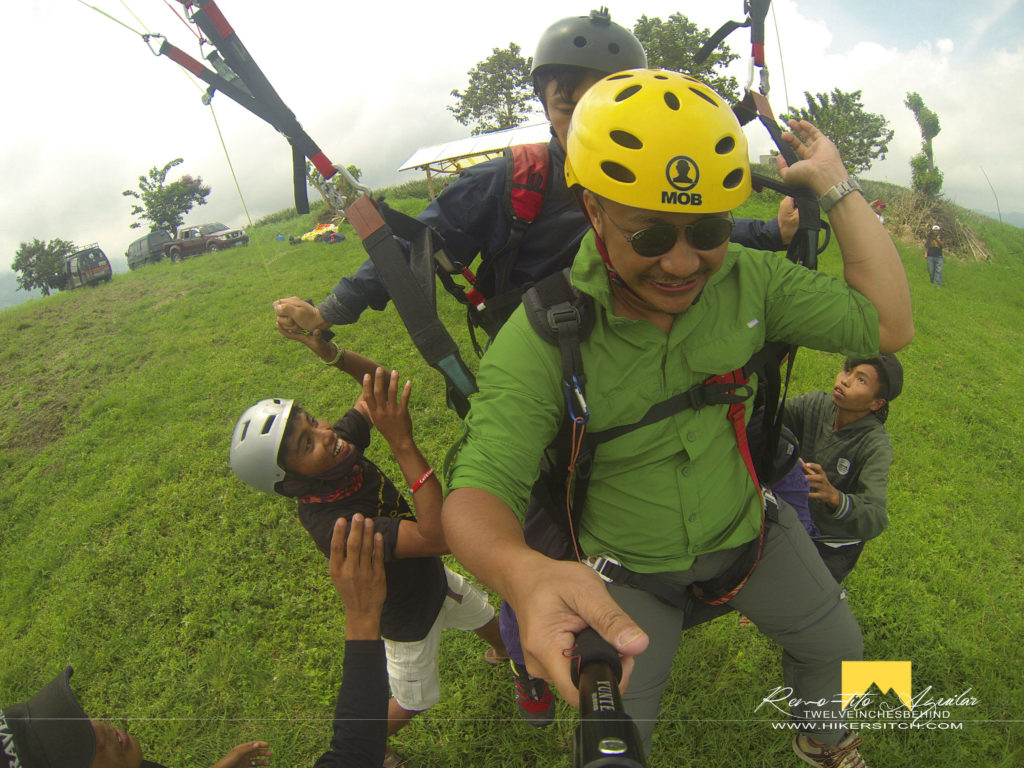 Smooth landing after tandem paraglide at Akfig